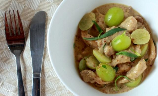 Kip met mosterdsaus en druiven / www.eenlepeltjelekkers.be