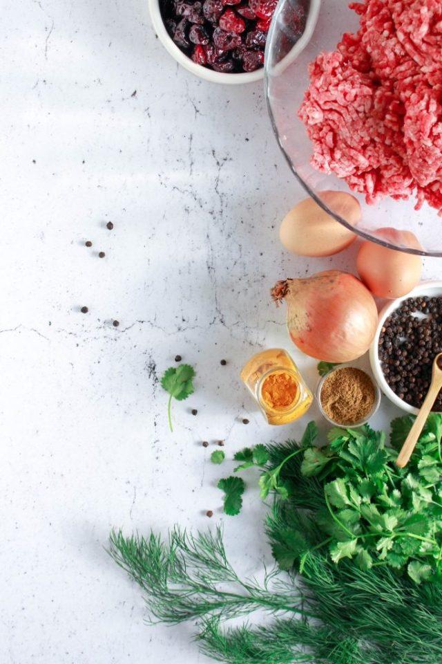 Ingrediënten voor Perzische gehaktballetjes / www.eenlepeltjelekkers.be