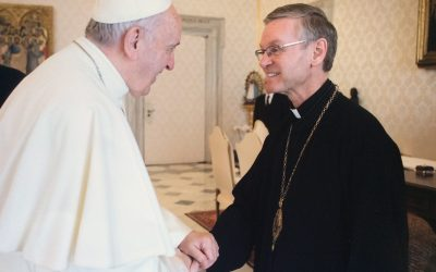 "Bishop David ""plays soccer"" with Pope Francis"