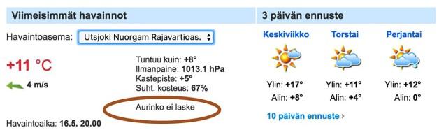 Lapimaal algas polaarpäev – päike loojub alles 29. juulil