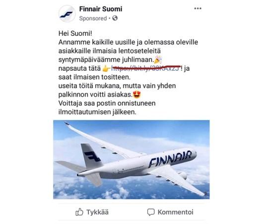 Finnair hoiatab petupakkumiste eest