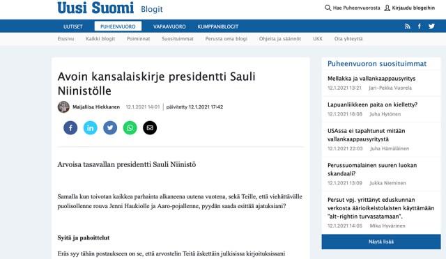 Soome naise kiri president Niinistöle koroona ja vaktsineerimise teemal
