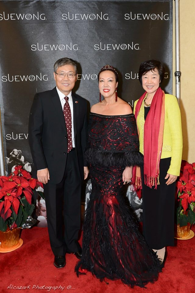 Left to right: Ambassador Liu Jian, China's Consul-General to Los Angeles with Sue and his wife Madame Ambassador Chen Xiaoling. Photo courtesy of Ken Alcazar Photography