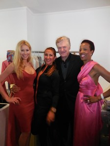Playboy Playmate Kennedy Summers, fashion designer Dunya Yildiz, actor Christopher McDonald, and TV host Cosandra Calloway. Cosandra is dressed on one of Dunya's Millions and Millions designs