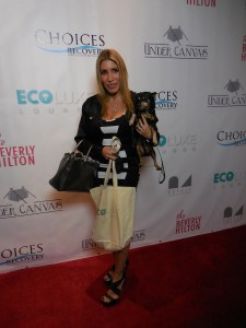 TV personality and actress Heather Michaels on the red carpet with the best accessory, her dog