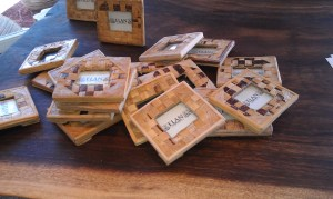 Kitschy wooden picture frames from Elan Event Rentals