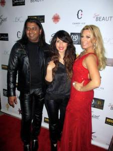Shekhar on the red carpet with makeup artist and hair stylist extraordinaire Badri and a model