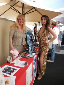 Author of Black Sally Lisa Luxen with Elexis who is red carpet ready in Marcella David haute couture