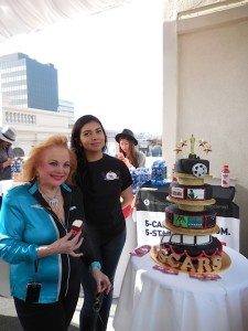 Two-time Oscar nominated song writer Carol Connors with Mary of Mary's Cakes with her beautiful Oscar cake that was oh so tasty too!