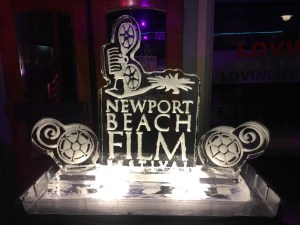 An ice sculpture in the VIP area of the Newport Beach Film Festival after party
