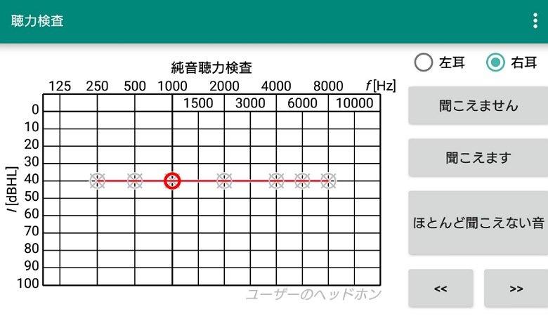 聴力検査アプリ画面