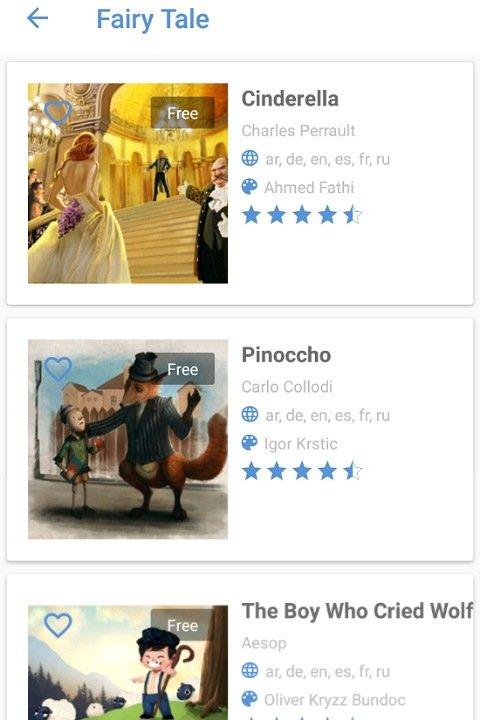 英語学習アプリMY WONDER BOOKS:おとぎ話の種類