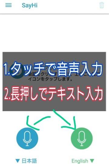 翻訳アプリSay Hi:翻訳機能の使い方説明