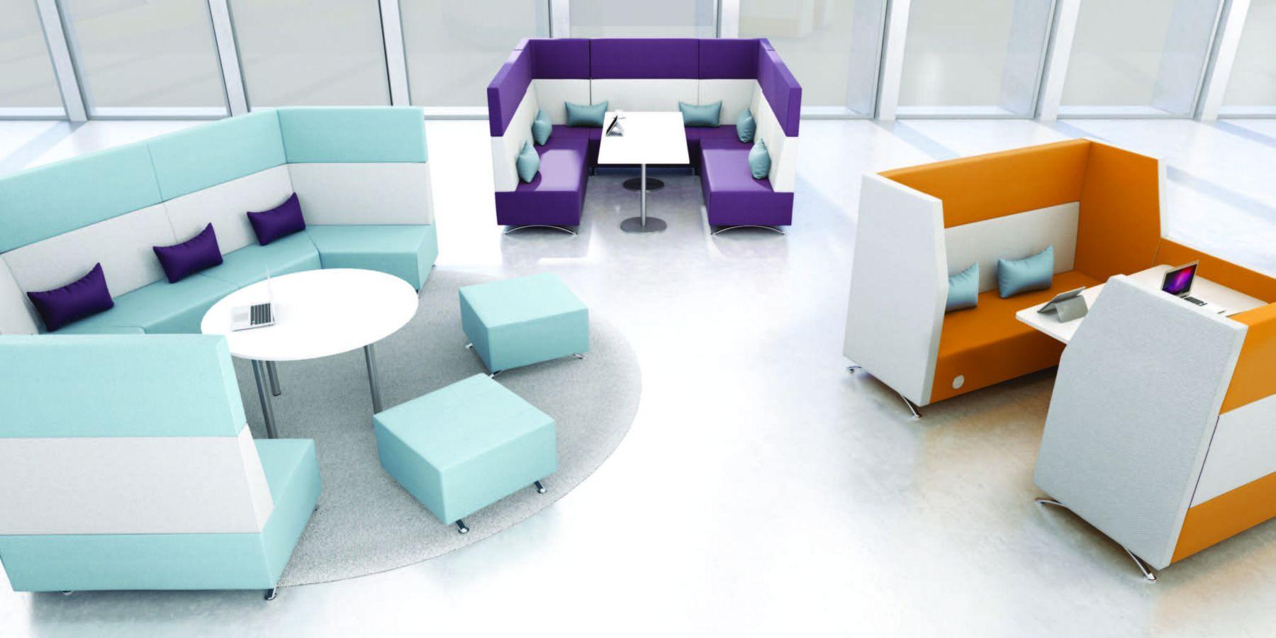 purple, orange, teal seating area healthcare sector