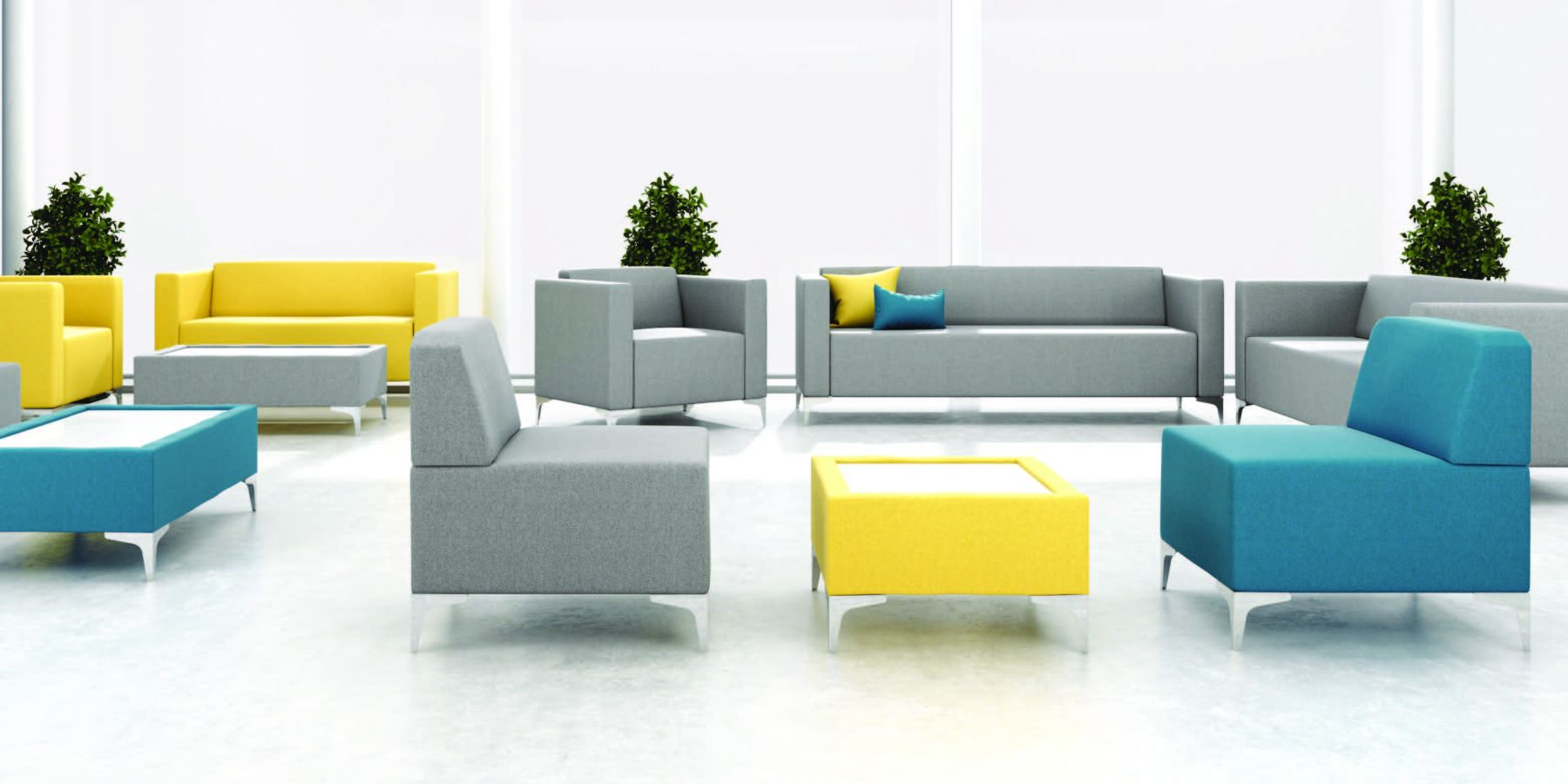 yellow and grey minimalist seating in the healthcare sector