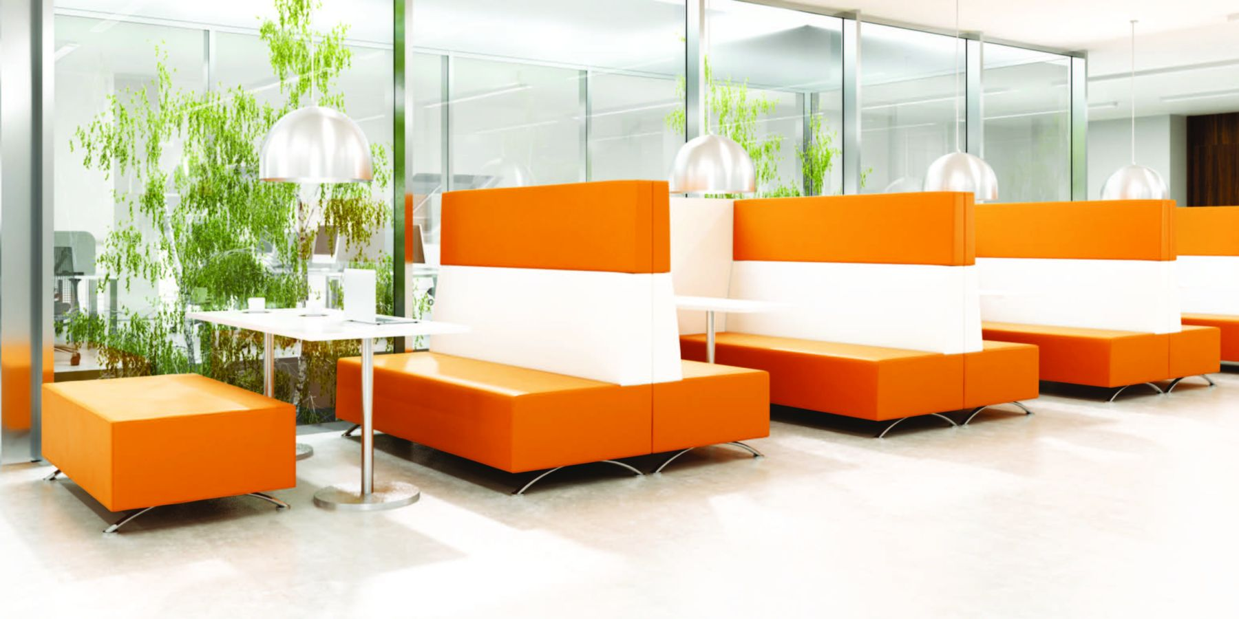 modular soft orange booths