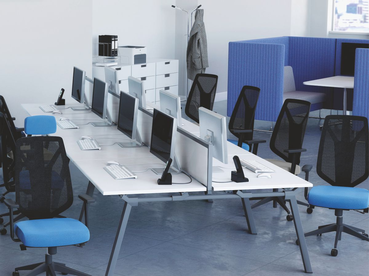 group desk with office chairs