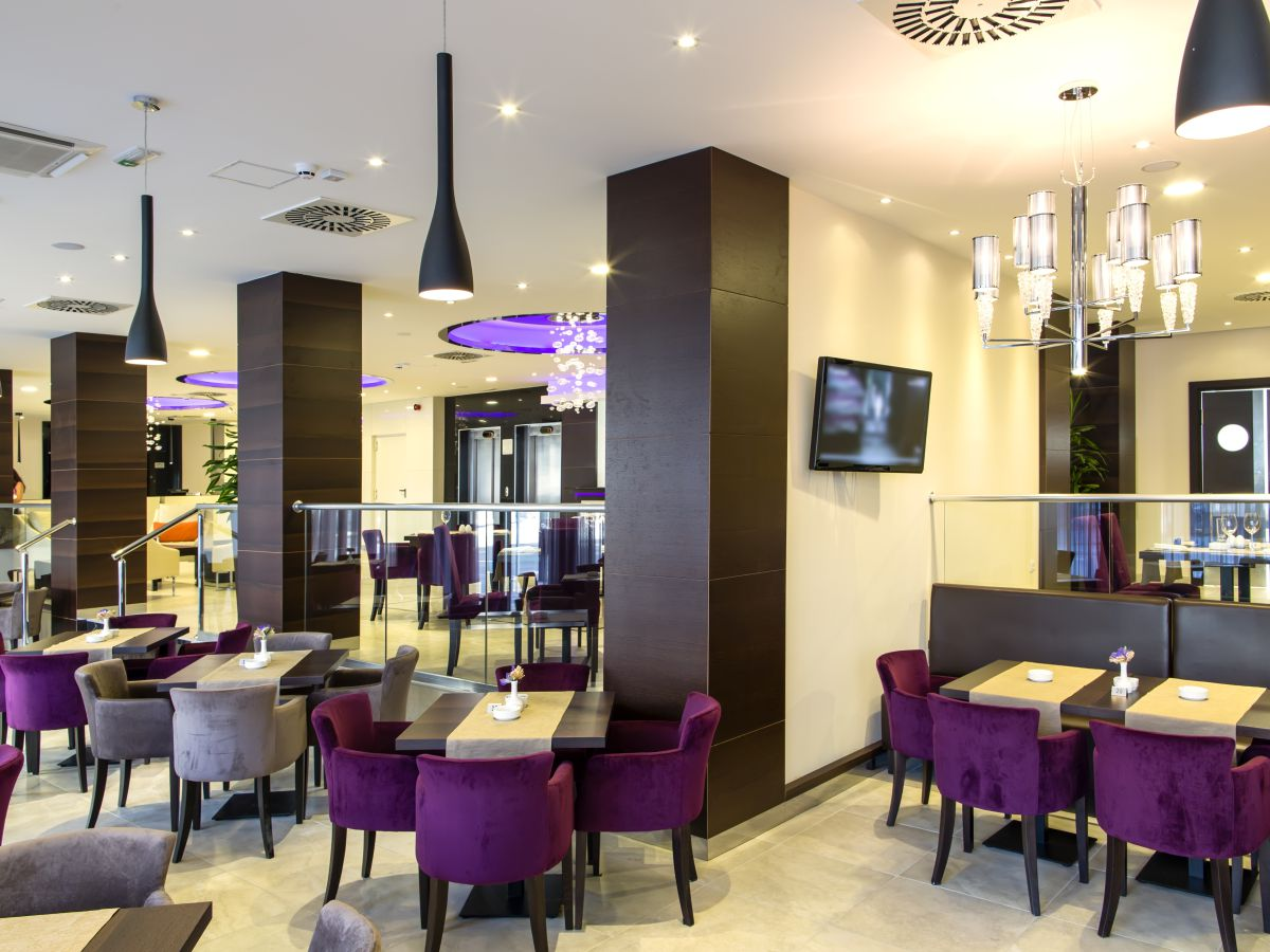restaurant purple chair dining area