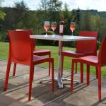 red plastic chairs outdoor