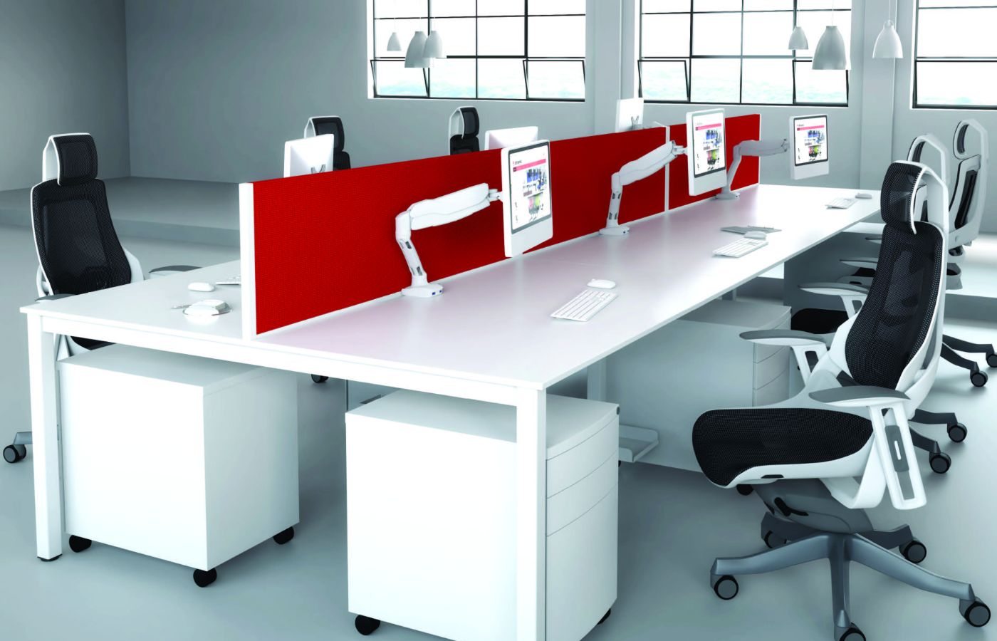 office and breakout with red dividers