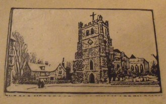 Mackey card design showing the Vicarage and Waltham Abbey Church