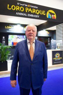 El presidente del Grupo Loro Parque, Wolfgang Kiessling, en la jornada inaugural de Fitur