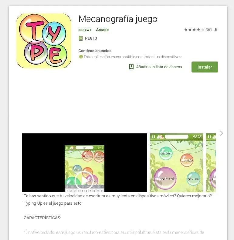 Mecanografía juego. App para android.