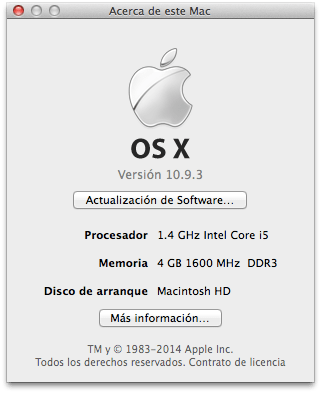 MacBookAir13:i5-1.4GHz:4GB:256GB