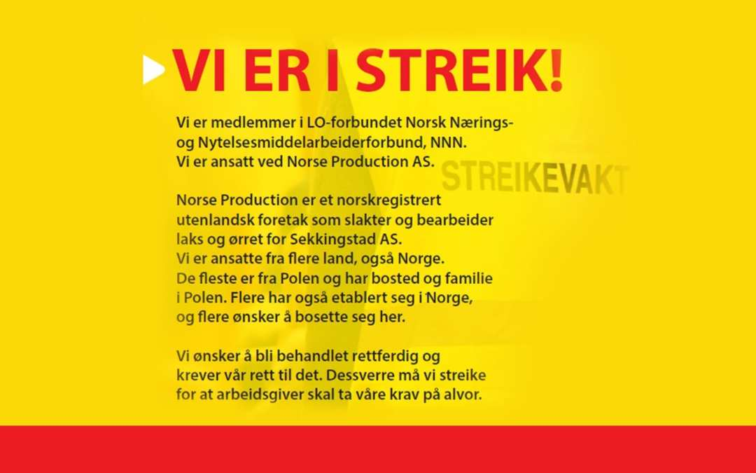 Norse Production: I strejk för ett kollektivavtal!