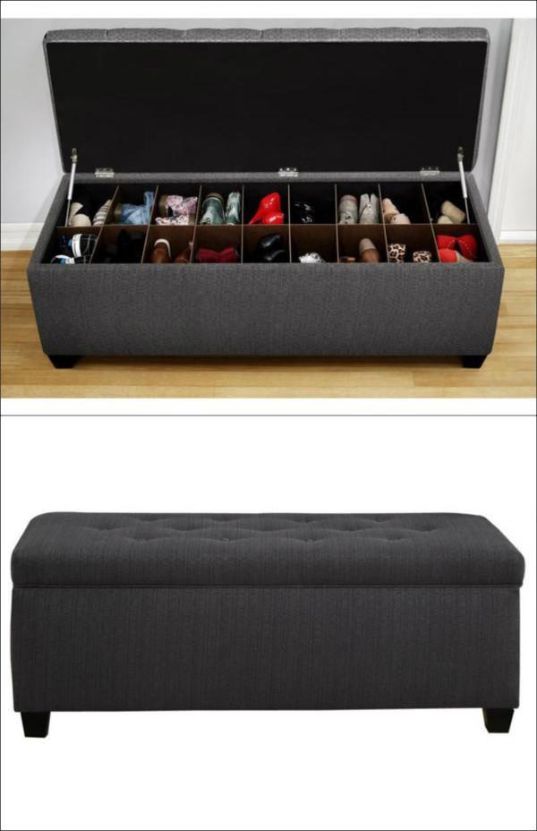 Банкетка может стать удобным и емким хранилищем для обуви.