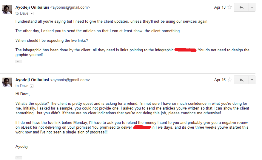 Discussion followed via email 11 (follow ups - no reply)