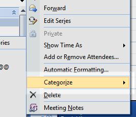 Creating meeting categories in Outlook 2007