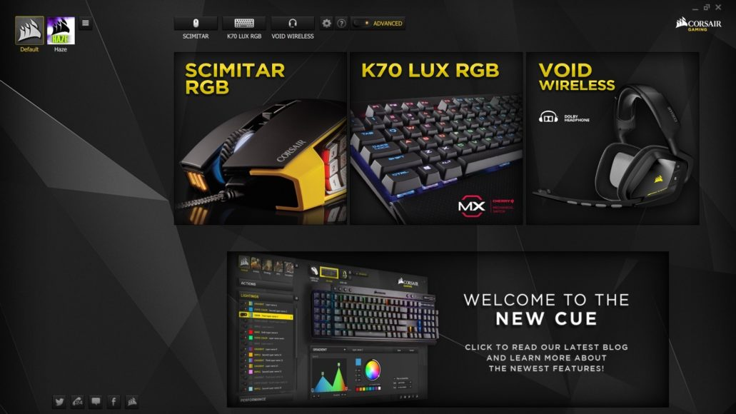Corsair K70 RGB MK.2 – CUE software
