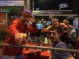 Taste of Little Italy - soccer fans do some patio posing