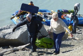 Unloading more riverbags