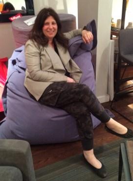 Julie Fass on a Fatboy bean bag chair