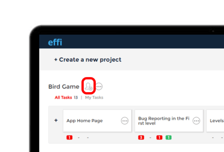 Effi Dashboard with highlighted assign team members icon.