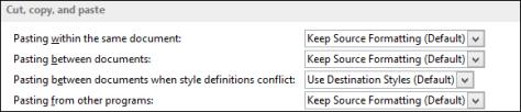 Set default paste in Word