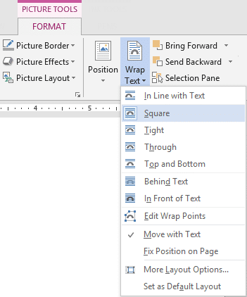 text and picture layout options in Word