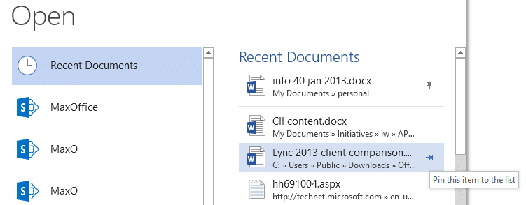 Open a File - Recent Documents