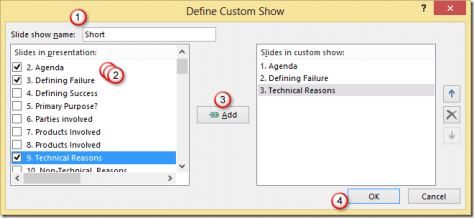 Add slides to PowerPoint custom show