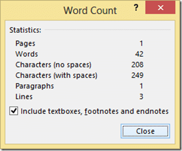 Word count dialogue