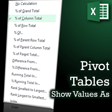 Pivot tables show values as