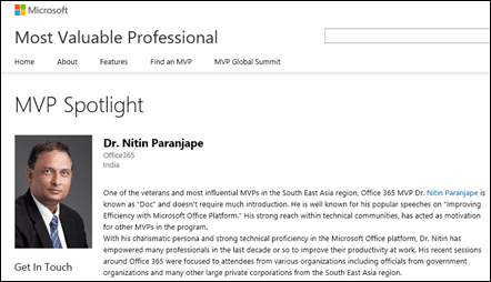 Dr. Nitin Paranjape on MVP Spotlight