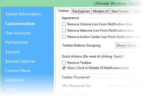 Setting Ultimate Windows Tweaker