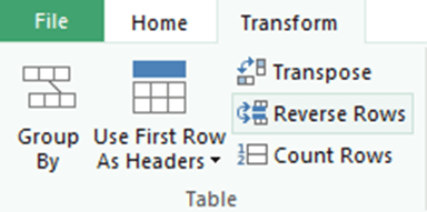 reversing row order in Excel data