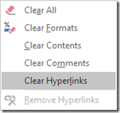 clear hyperlinks - remove all hyperlinks