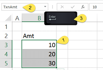 How to define a Range Names in Excel