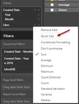 Quick Calc in Power BI - menu option