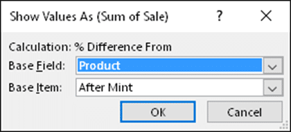 Pct Difference From - Base dialog